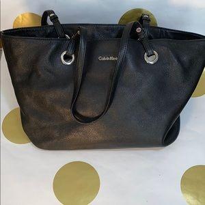Calvin Klein Black Leather Tote